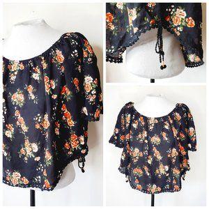 JAPNA 100% Rayon Boho Off The Shoulder Floral Top